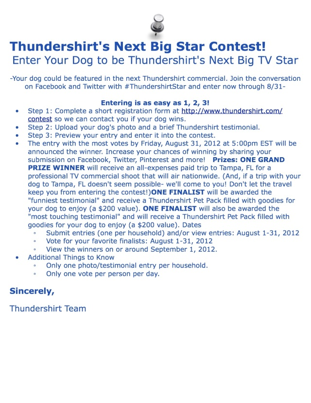 Thundershirt's Next Big Star Contest!